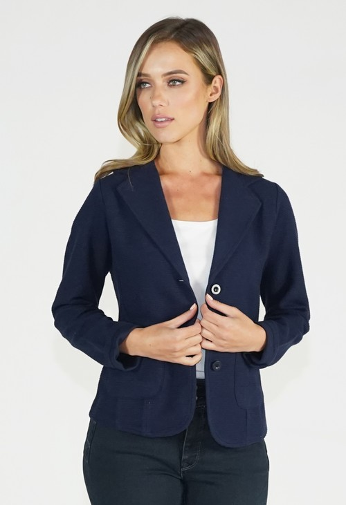 Twist Navy Ribbed Blazer