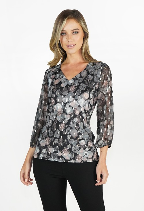 Sophie B Grey Black Pattern Top