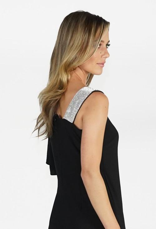 Pamela Scott Black Diamante Shoulder Jumpsuit