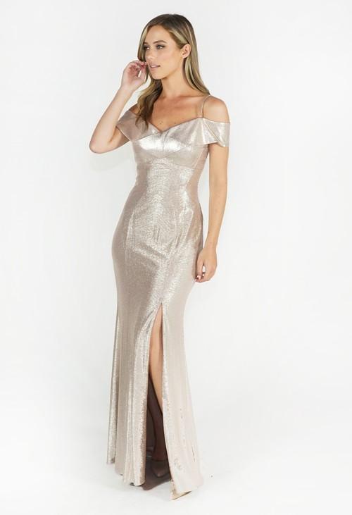 Pamela Scott Champagne Off Shoulder Dress