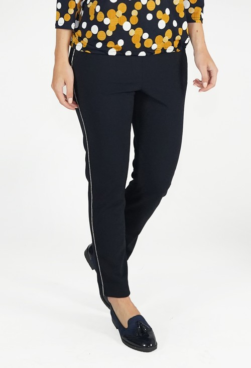 Zapara Marine Blue Trousers With Side Leg Detail