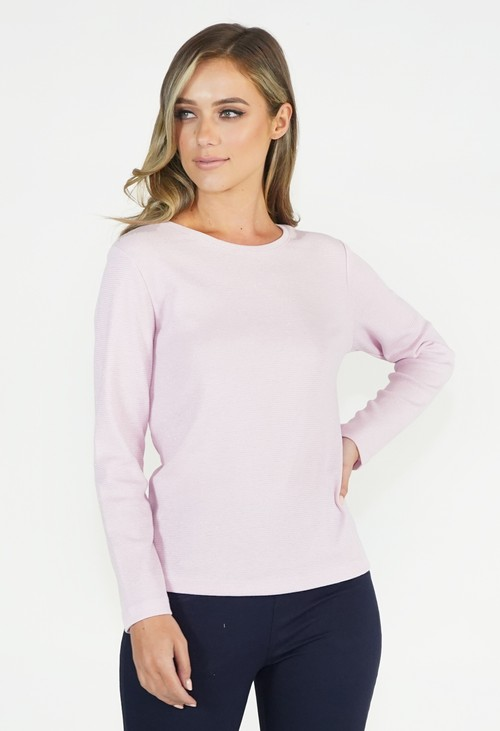 Twist Pink Rib Neck Top