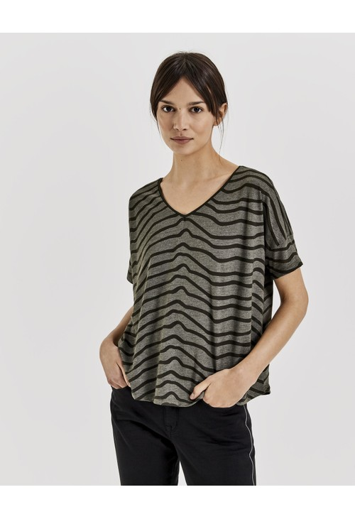 Opus Olive Green Shirt with print Santo zebra