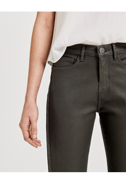 Opus Olive Green stretch trousers Emily coated denim