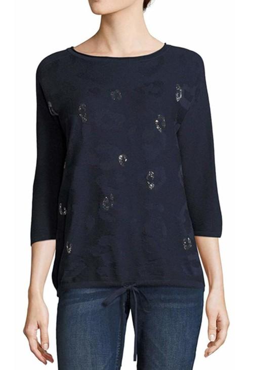 Betty Barclay Navy Animal Print Sweater