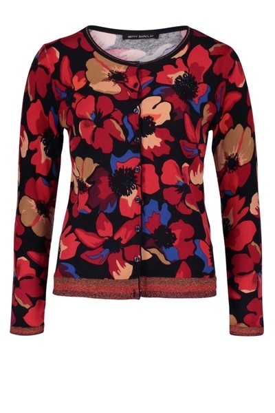 Betty Barclay Floral Print Cardi with Rhinestones