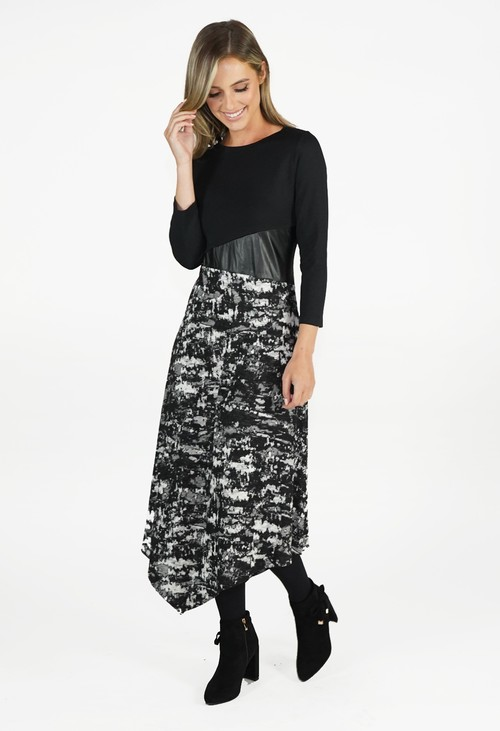 Sophie B Black Dress With Dipped Hem