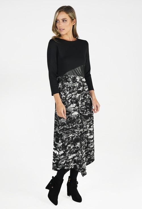 Sophie B Black Dress With Dipped Hem