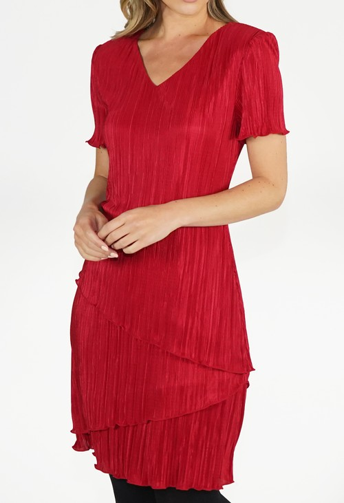 Pamela Scott Red Tiered Dress