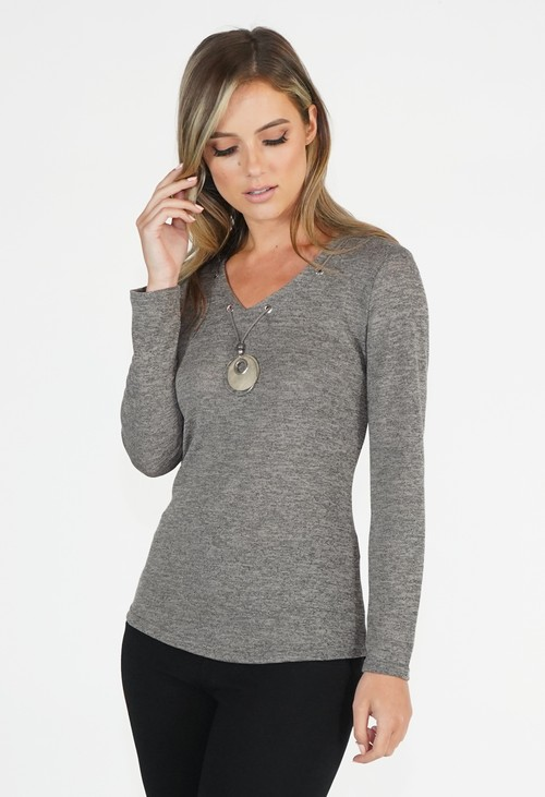 Sophie B Taupe V Neck Top with Necklace Detail