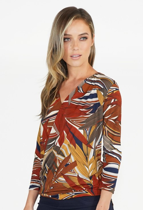 Twist Cognac and Navy V Neck Pattern Top