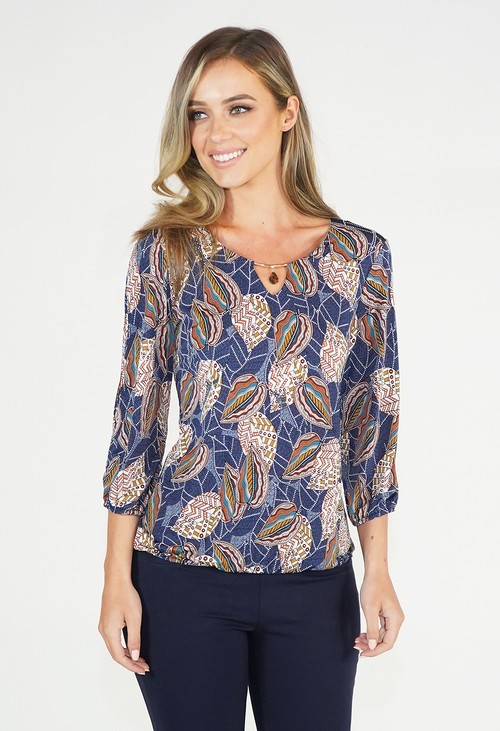 Twist Navy Leaf Design Top