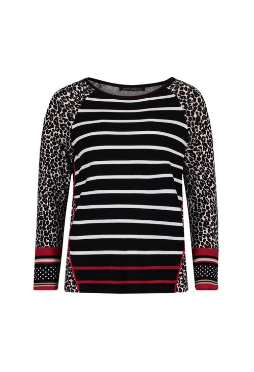Betty Barclay Pullover with Leopard and Stripe Print