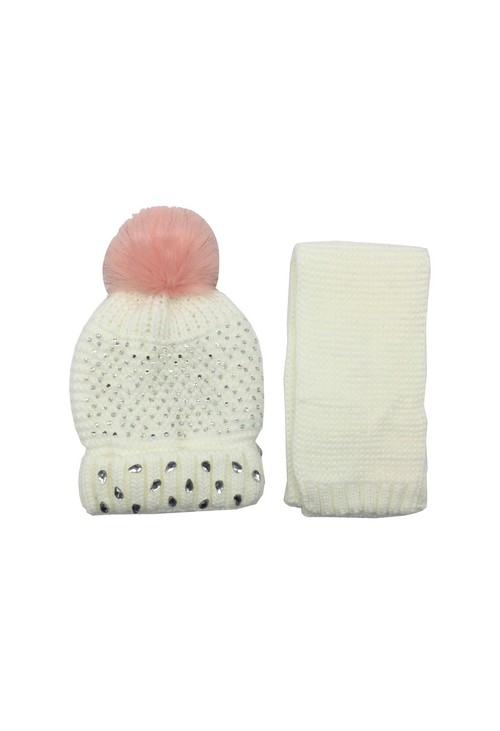 Pulse & Sparkle Kids Off White Hat and Scarf Set