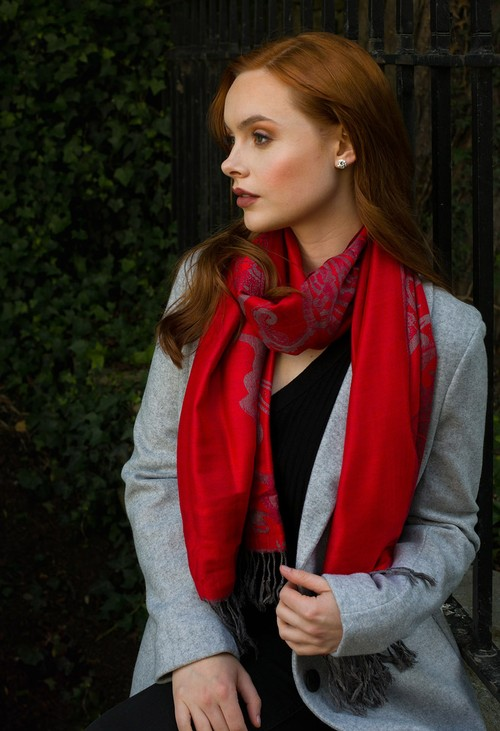 Pulse & Sparkle Red Printed Pashmina