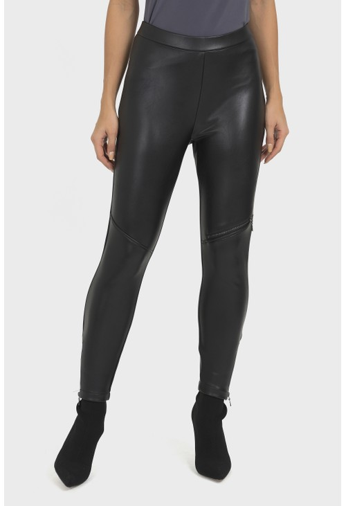 Joseph Ribkoff Zip Detail Faux Leather Trousers