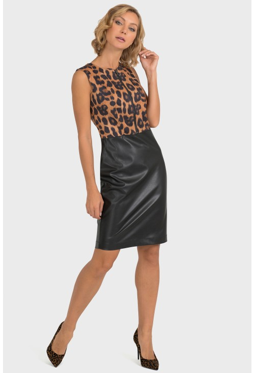 Joseph Ribkoff Animal Print Faux Leather Dress