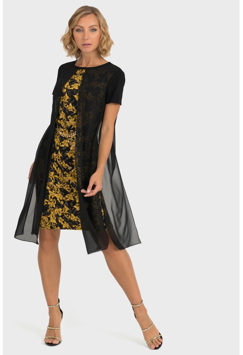 Joseph Ribkoff Chiffon Overlay Baroque Dress