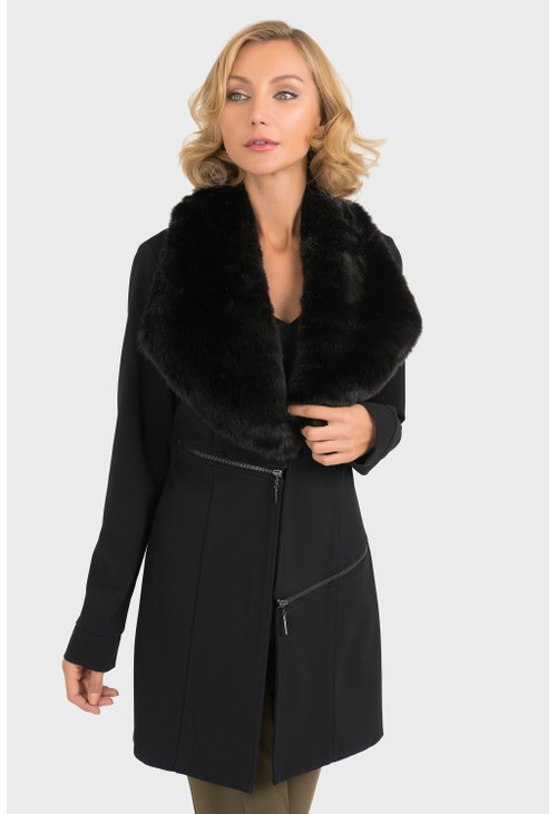 Joseph Ribkoff Faux Fur Trim Jacket