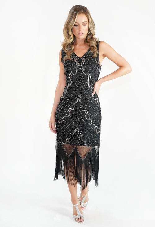 Pamela Scott Sequin and Fringe Hem Dress