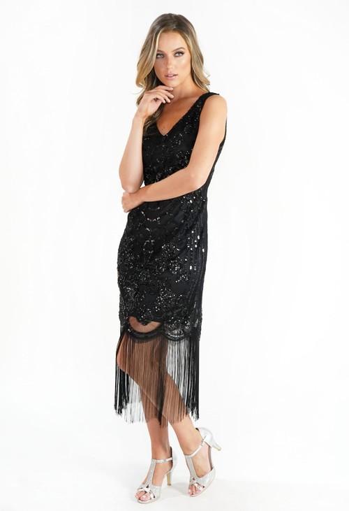 Pamela Scott Sequin and Fringe Hem Dress