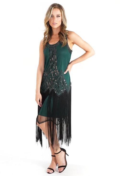 Pamela Scott Green Sequin and Fringe Hem Dress