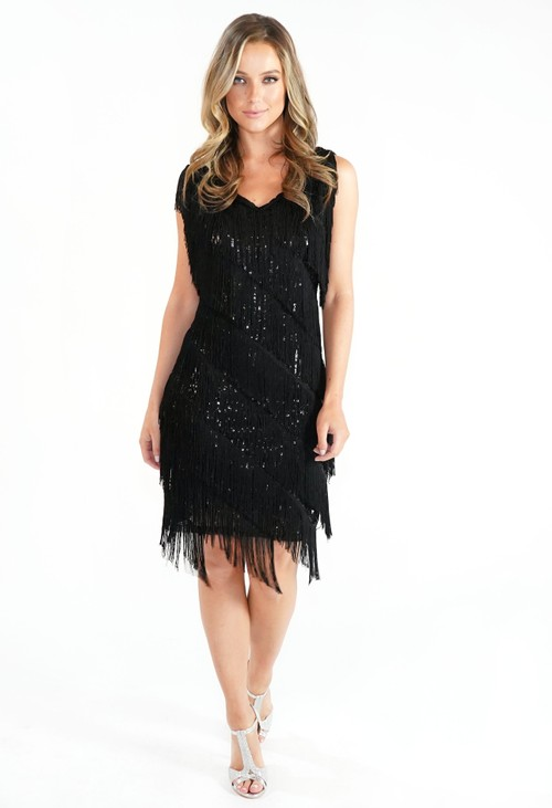 Pamela Scott Black Sequin Fringe Dress
