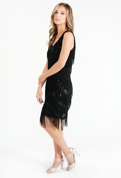 Pamela Scott Black Sequin Fringe Dress