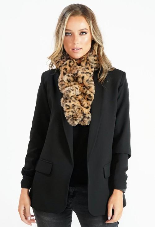 Pamela Scott Leopard Print Fur Wrap