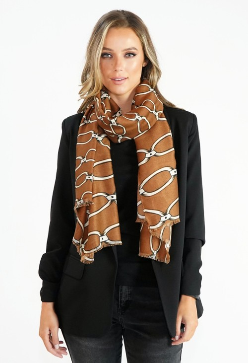 Pamela Scott Tan Chain Print Scarf