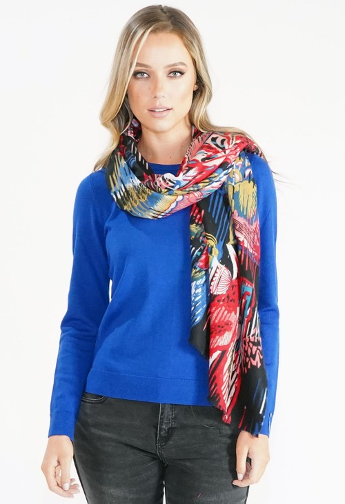 Pamela Scott Abstract Floral Scarf