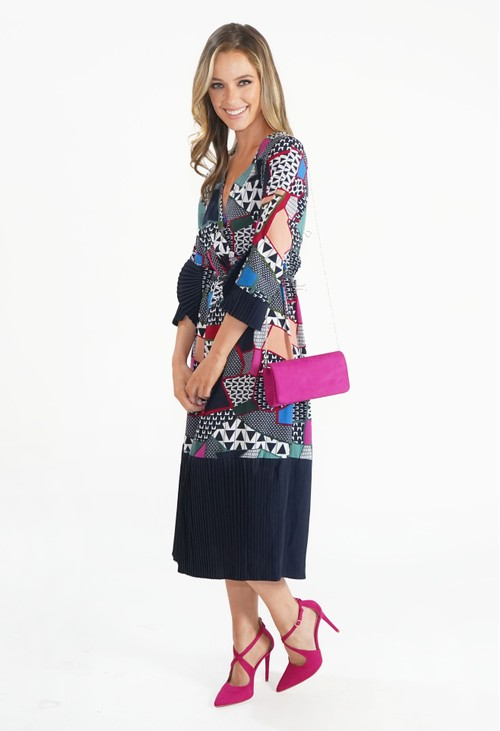 Zapara Multi Coloured Cross Over Patterned Dress with Pleated Detail