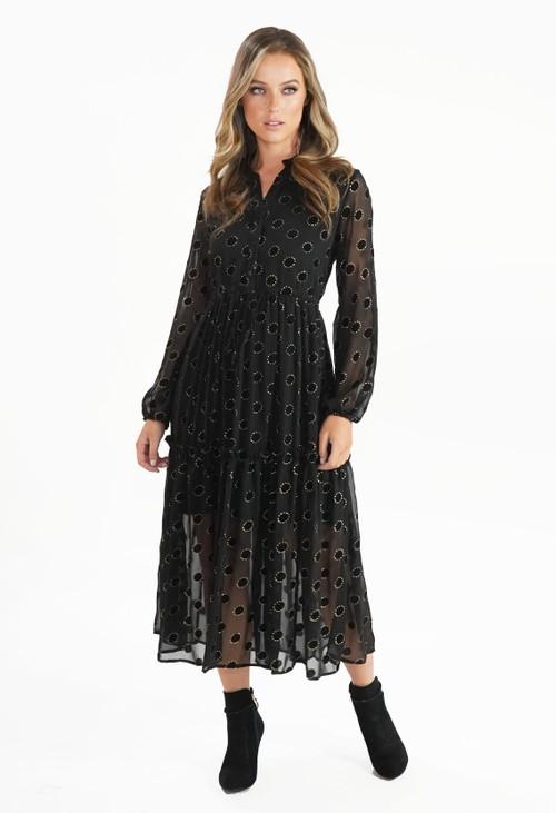 Pamela Scott Black Dress with Metallic Gold Circle Pattern