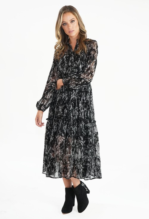 Pamela Scott Black Print Midi Dress