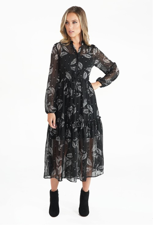 Pamela Scott Black Leaf Print and Metallic Detail Midi Dress