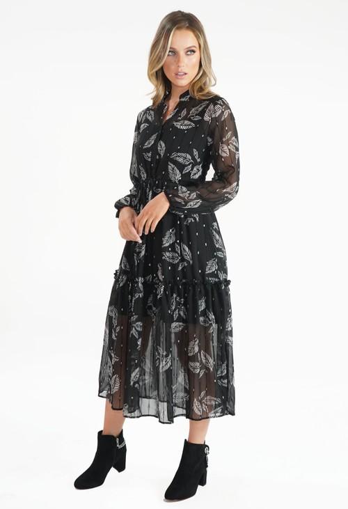 Pamela Scott Black Leaf Print and Metallic Detail Midi Dress