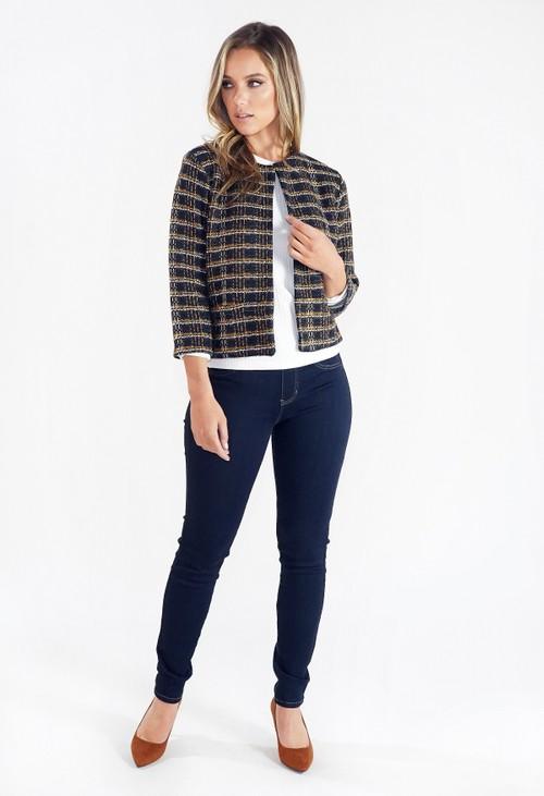 Zapara Short Woven Check Jacket