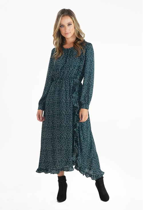 Pamela Scott Green Polka Dot Dress with Frill Detail