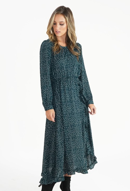 Pamela Scott Green Polka Dot Dress with Frill Detail