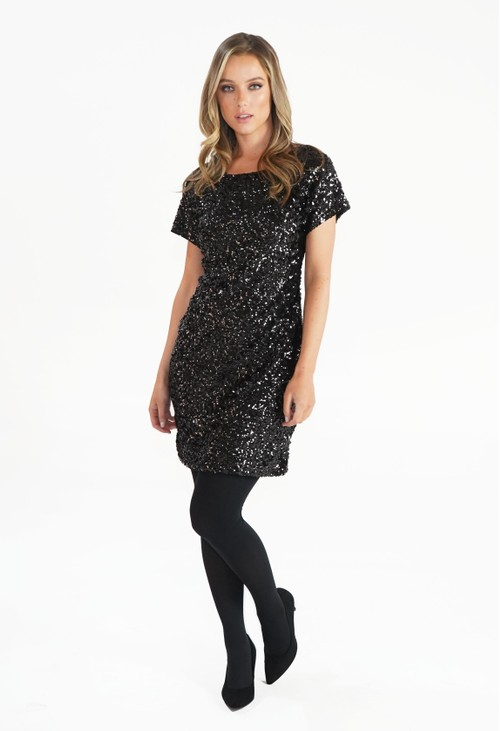 Pamela Scott Black Sequin Mini Dress