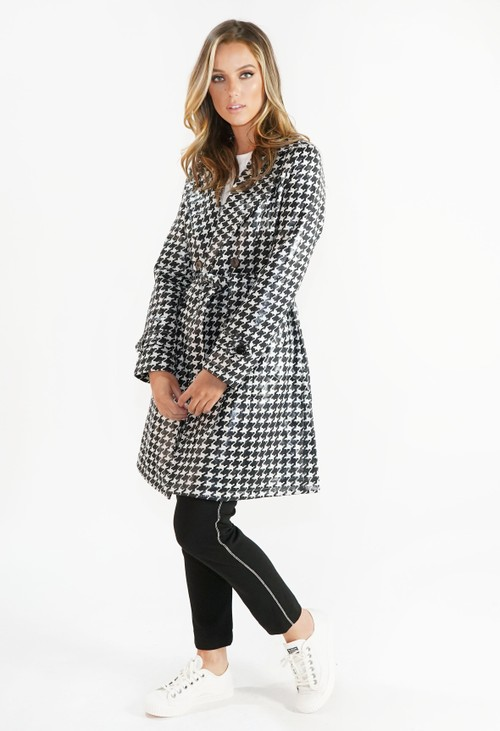 Pamela Scott Black and White Houndstooth Coat