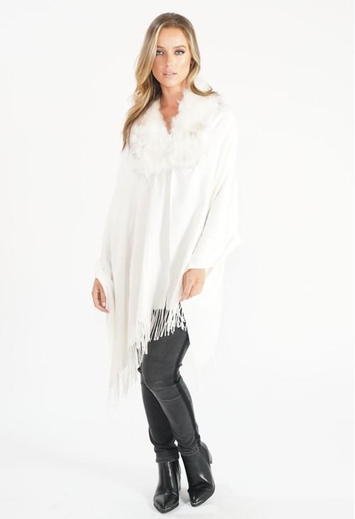 Pamela Scott Cream Faux Fur Detail Shawl