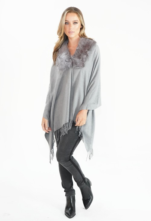 Pamela Scott Grey Faux Fur Detail Shawl