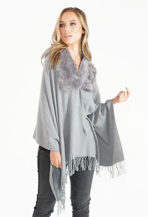 Pamela Scott Grey Faux Fur Detail Shawl