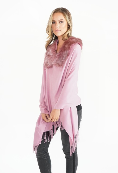 Pamela Scott Pink Faux Fur Detail Shawl