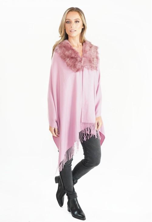 Pamela Scott Pink Faux Fur Detail Shawl