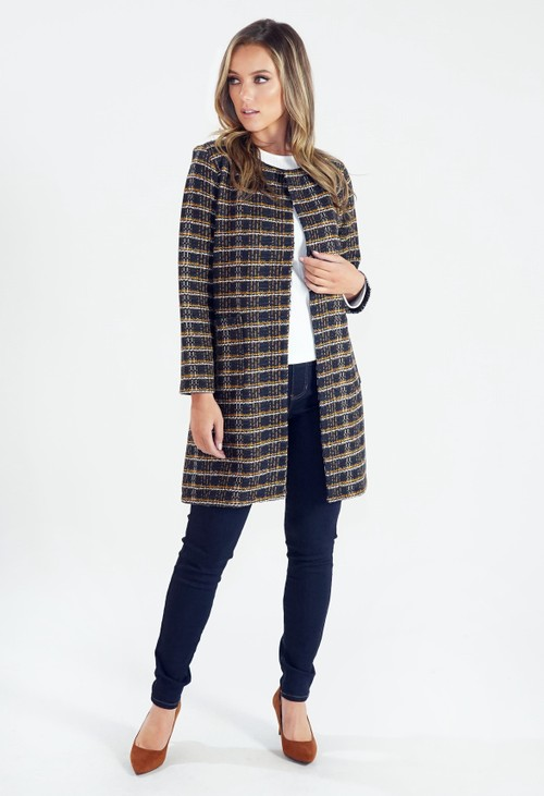 Zapara Long Woven Check Jacket
