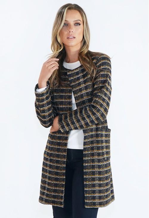 Zapara Long Woven Check Jacket