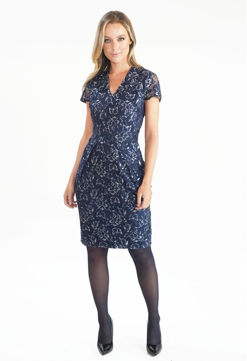 Zapara Navy and Silver Lace Dress