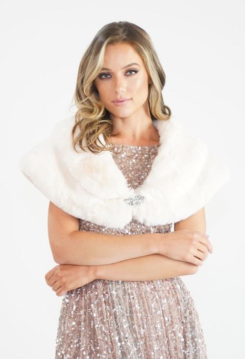 Pamela Scott Cream Faux Fur Wrap